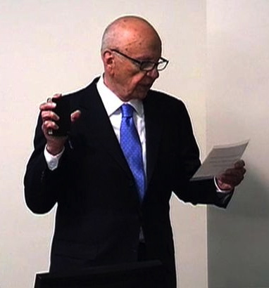 Rupert Murdoch swearing an oath at the Leveson Inquiry