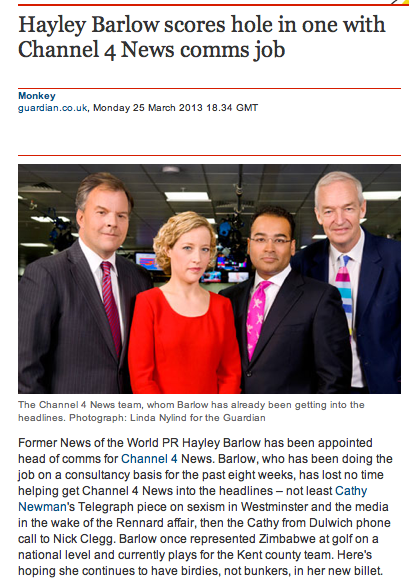 Channel 4 News appoints Head of Comms